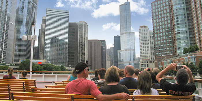 View from river boat tour Chicago