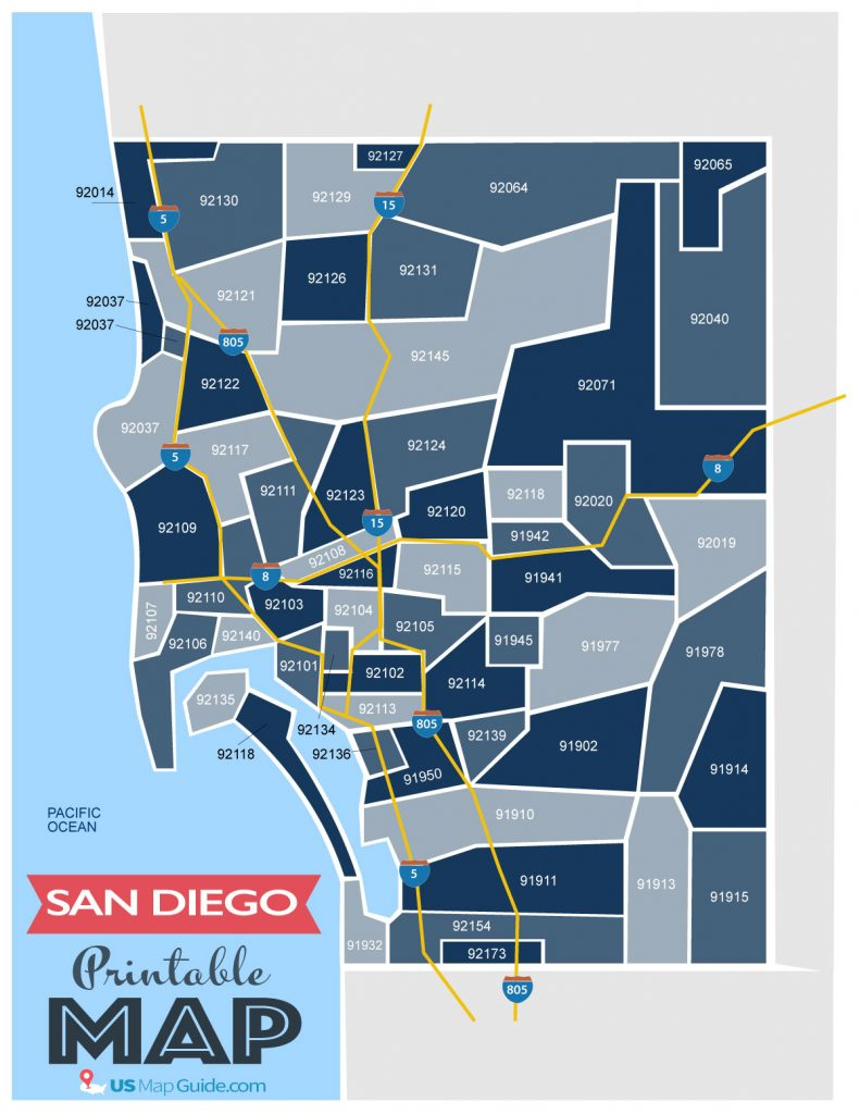 Printable San Diego zip code map.