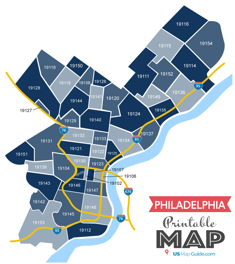 image relating to Printable Map of Philadelphia identified as Philadelphia Zip Code Map [Current 2019]