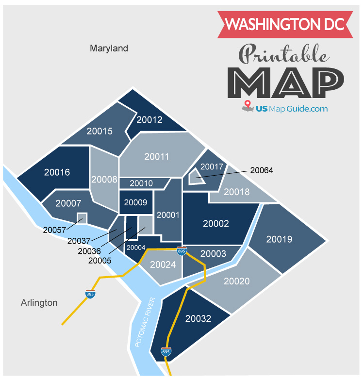 Washington DC zip code map -printable