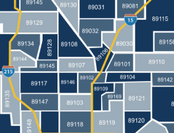 Las Vegas zip code map