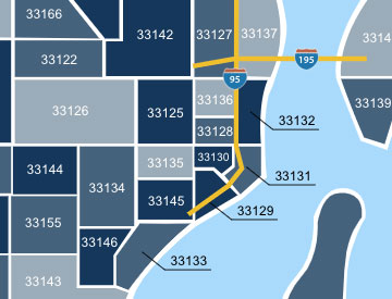 Miami zip code map