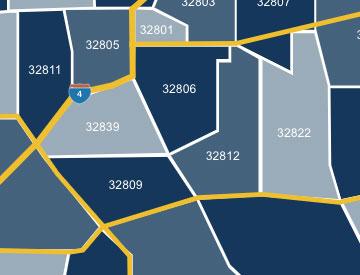 Orlando zip code map