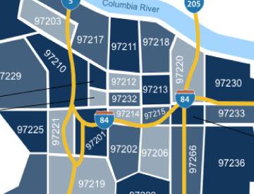 Portland zip code map