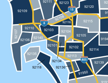 San Diego zip code map
