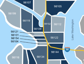 Seattle zip code map