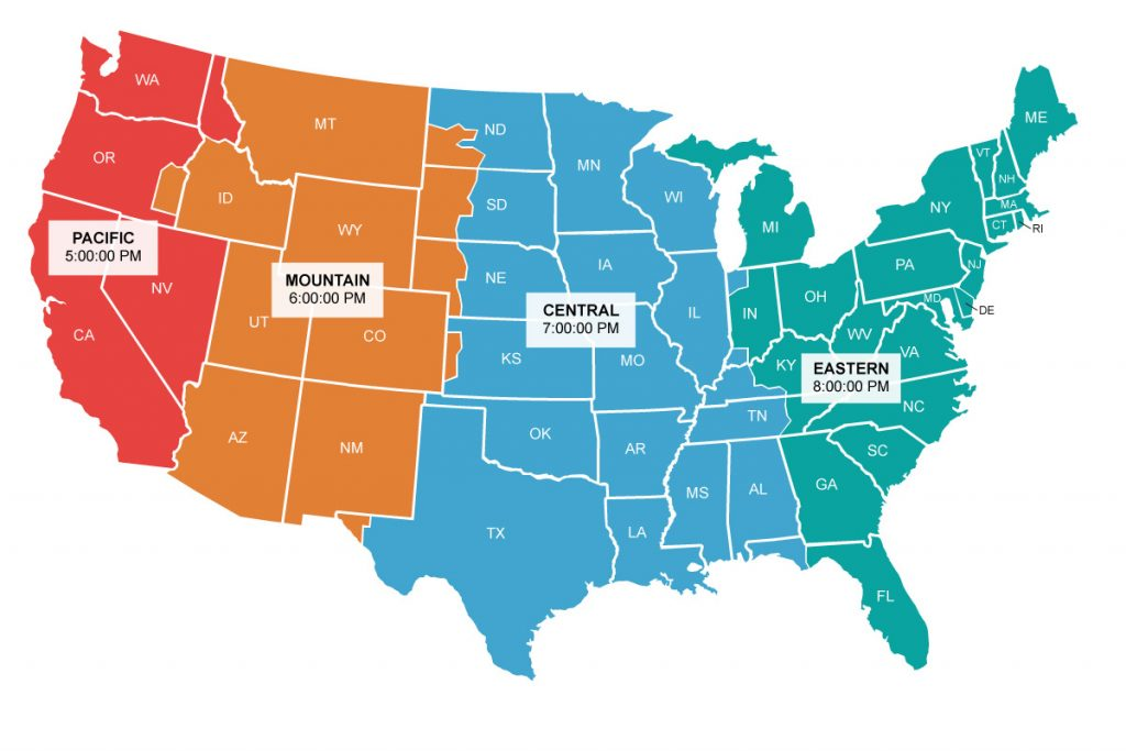 Picture of: United States Time Zone Map Live Time