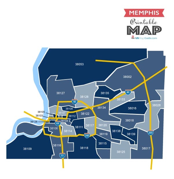 Printable zip code map Memphis