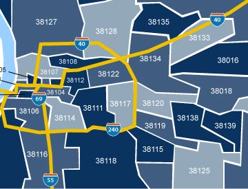 Memphis zip code map preview