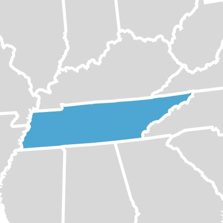 map of the state of Tennessee
