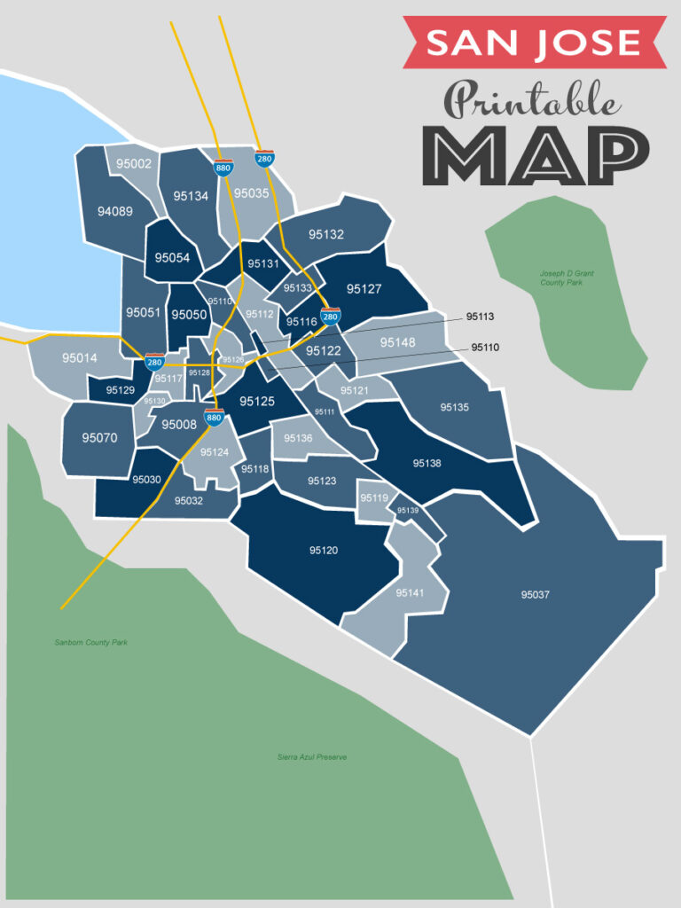 printable san jose zip code map
